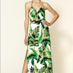 Milly of New York green halter palm print maxi